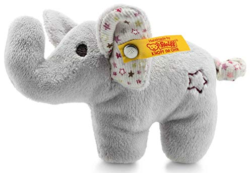 Steiff Mini Knister-Elefant mit Rassel - 11 cm - Plüschelefant mit knisternden Ohren & Rassel - Kuscheltier für Babys - grau (240690)