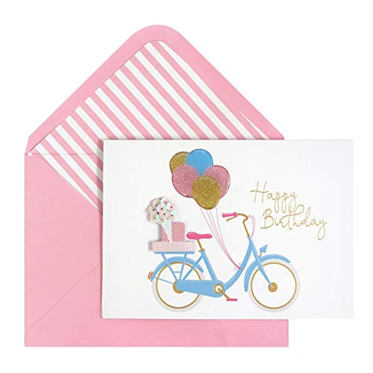Paislee Paperie 353639 Bike Birthday Greeting Card, Pink Glitter