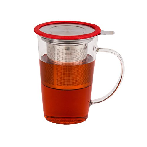 Glass Tea Cup With Infuser For Infusing Loose Tea - Gift Box Included (Red)