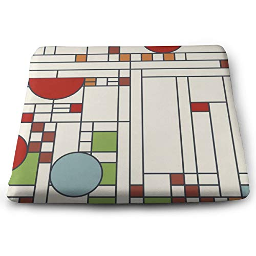 Memory Foam Chair Cushion Ultimate Comfort and Softness Square 15' x 13' Seat Cover,Frank Lloyd Wright Pattern S