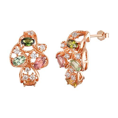Pendiente Natural turmalina joyería 925 de Plata de Ley Pendiente Color de Rosa del Color de Punto para Mujeres Esposa Diseño Regalo Aniversario
