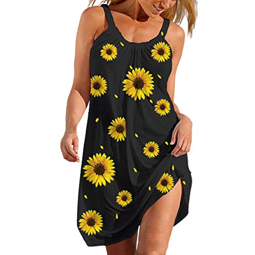 VEKDONE Summer Dresses for Women Beach Floral Sundress Sleeveless Casual Loose Tank Dress American Flag Patriotic Dress