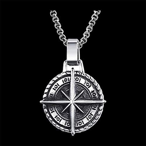 NC86 Collar con Colgante de Acero Inoxidable con Escudo gótico, joyería de Estilo Retro, Regalo Hueco, Collar de Moda con Encanto y Personalidad