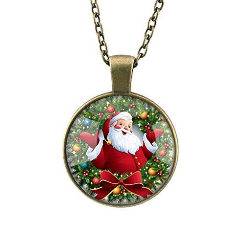 DELEY Vintage Long Bronze Chain Glass Cabochon Dome Pendant Statement Necklace Santa Claus