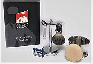 GBS Slant Safety Razor Shaving Set - Chrome -37 The Stubble Remover (37001 37C) Slanted Razor, Badger Brush, Razor & Brush Stand, Bowl Soap + 10 Blades For Ultimate Wet Shaving Experience