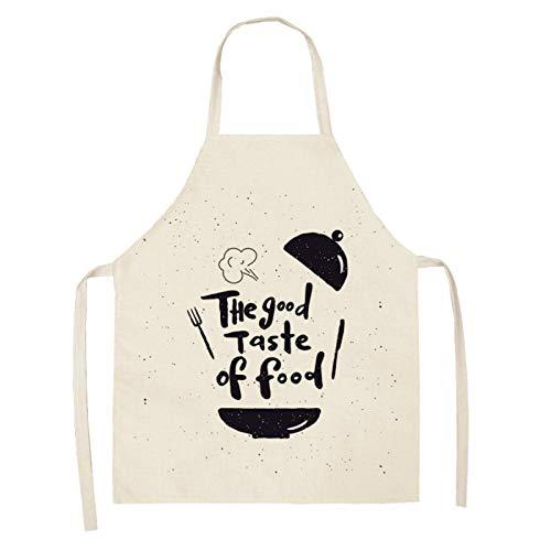 EVENN - Delantal de cocina con letras del alfabeto para mujer, de algodón y lino, 53 x 65 cm, 2WQ-WQL0178-22