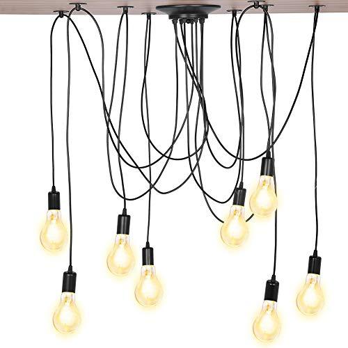 Industrial Lámpara de Araña, Vintage Lámpara de Techo LED Colgante Negro de Suspensión Estilo Vintage Ajustable DIY Techo Araña Lámpara de Luz E27, para Dormitorio Salón Comedor Hotel (8 Cabezales)