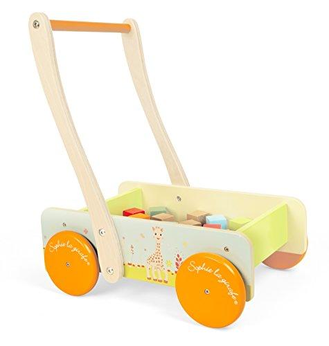 Janod - J09537 - Chariot Bois 20 Cubes Sophie La Girafe