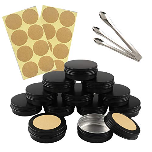 FBJIE 24 Pcs 60ml Black Aluminum Tin Jars with Screw Lids, Empty Round Cosmetics Lip Balm Containers Pots for DIY Candle, Salve Powder, Crafts, Storage Cans with 3X Alu Spoon, 24x Ø 5cm Labels