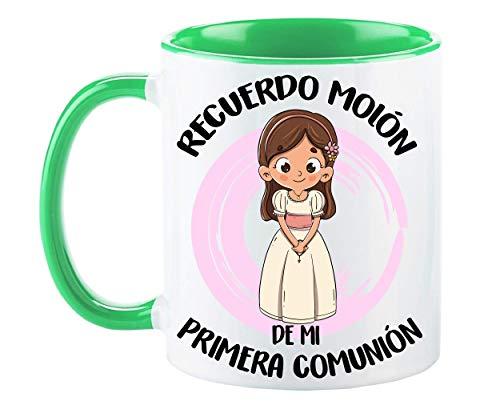 FUNNY CUP Taza Recuerdo molón de mi Primera comunión. Regalo Divertido para niña. (Verde)