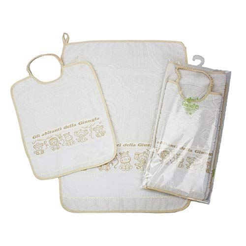 Juego de guardería escolar para bordar Giungla, 2 piezas: babero de esponja con elástico de 28 x 33 cm y toalla de 40 x 52 cm. con aida para bordar punto de cruz, 100% algodón, ecrù