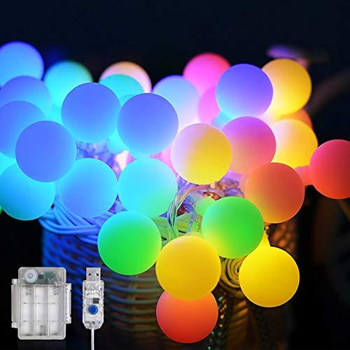 Maxsure Led Kugel Lichterkette 10M 100LED, USB/Batterien Globe Lichterkette mit Fernbedienung, Warmweiß/Bunt, Timer Funktion, Wasserdicht, 12 Modi String Lights für Weihnachtsdeko, Halloween, Partys