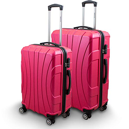 BERWIN® Kofferset L + XL 2-teilig Reisekoffer Trolley Hartschalenkoffer ABS Teleskopgriff Modell Strike (Pink)