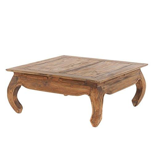 Retro OPIUMTISCH MAHA | 80x80x35cm (LxBxH), braun, massivholz Couchtisch, Beistelltisch im Vintage Design, Wohnzimmertisch