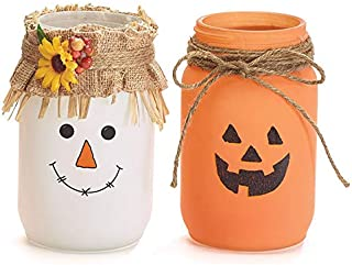Autumn Jack o Lantern and Scarecrow Themed Tea Light Candle Jars, 7 Inches