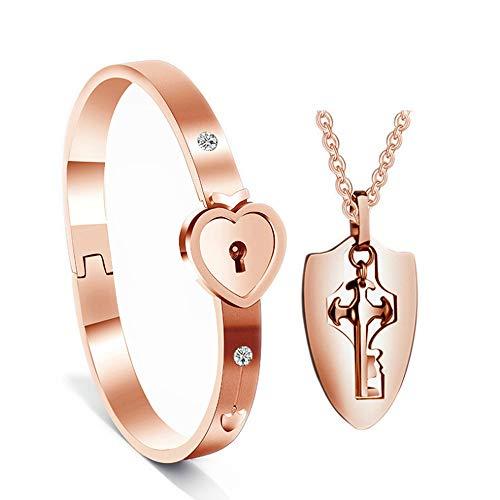 Adaskala Cerradura Pulsera y llave Collar Brazalete Colgante Acero de titanio Juego de joyas para amantes Regalo romántico para el Día de San Valentín Cumpleaños Navidad Aniversario de bodas