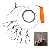 6M/19.6FT Fishing Stringer Clip Fish Lock Stainless Steel Wire Rope Lanyard Live Fish