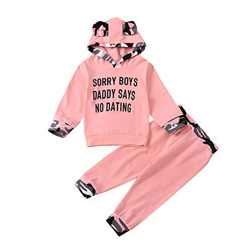 Shiningwe Neugeborene Baby Brief Bedruckte Kapuzen Oberteile und Hosen Set, Baby Mädchen Junge Niedliches Kapuzenpullover und Hose Winter warme Outfits Anzug