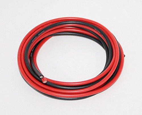 FLY RC Cable de Silicona de Calibre 14 10 pies Rojo y 10 pies Negro Cable Flexible de Cobre Trenzado 14 AWG