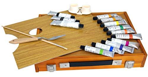 Chely Intermarket - Set de Pintura de 19 pzas. - maletin de madera con óleos, pincel y paleta para pintar. Kit ideal para principiantes y aficionados.