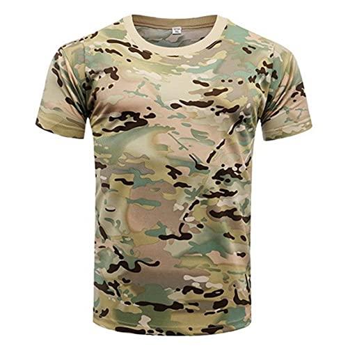 Ohomr De Secado rápido de Camuflaje táctico Camisa de Manga Corta de los Hombres de Combate Camiseta Militar del Ejército T Shirt Camo al Aire Libre Senderismo Caza Camisas