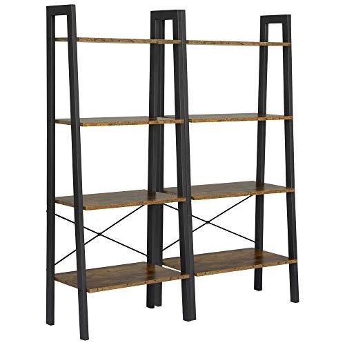 Yaheetech 2 stuks. Staande kast, boekenkast, 4 niveaus ladderkast, vintage, stabiel metaal voor het frame, voor woonkamer, slaapkamer, keuken