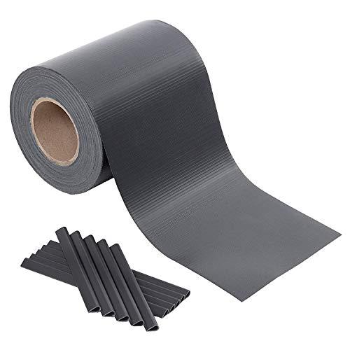 SONGMICS GPJ100GY Striscia protettiva in PVC, extra spessa con 50 clip di fissaggio, 100 m x 19 cm