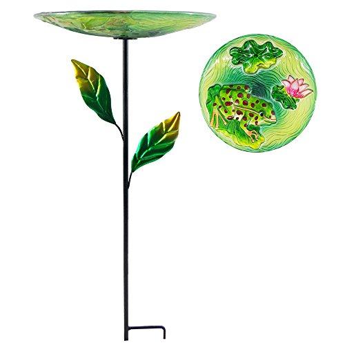 Comfy Hour Bird Meets Garden Bath Collection 23' Frog Lotus Flower Glass Birdbath Birdfeeder Metal...