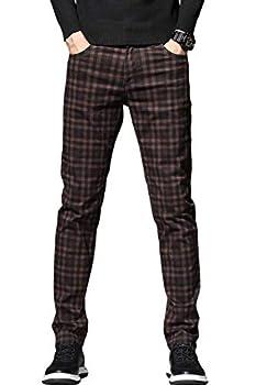 HENGAO Men s Regular Fit Plaid Chino Pants Wine Red 34