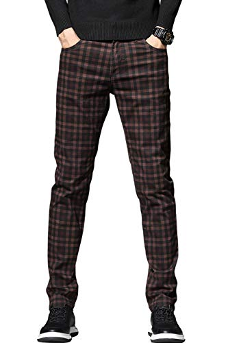 HENGAO Men's Stretch Plaid Regular Fit Jeans Denim Pants, Wine Red, 32