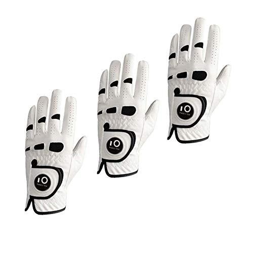 3 Stück weiche bequeme Ledermens-Golfhandschuh linke Hand rechts mit Kugel-Markierung Griffgröße Small Medium ML Large XL Golfhandschuh Herren Linke Hand ( Color : 3 Worn on Left Hand , Size : M )