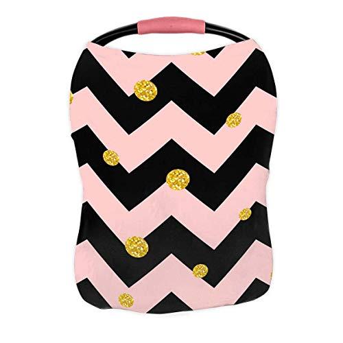 Best Prices! PKQWTM Glittering Gold Polka dot Black Pink Chevron Nursing Cover Baby Breastfeeding In...