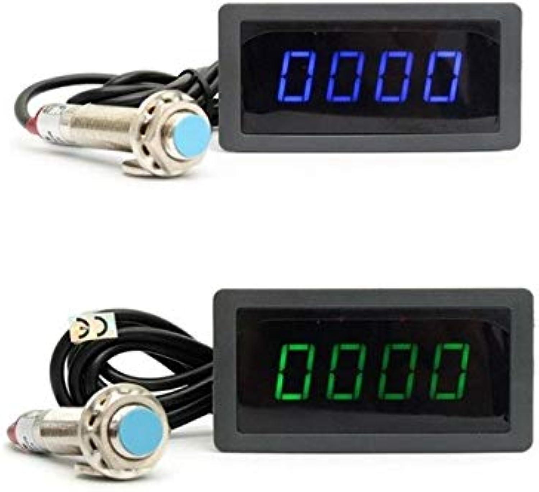 SalaStore  bluee Green 4 Digital LED Tachometer RPM Speed Meter+Proximity Switch Sensor 12V Promotion