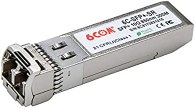 6COM 10 Gigabit SFP+ Transceiver, 10GBase-SR LC Multi-Mode Module for Mellanox MFM1T02A-SR (DDM, 850nm, 300m)