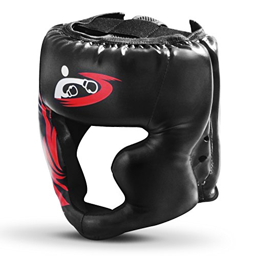 Boxing Headgear, PU Leather Head Guard Sparring Helmet for Boxing, MMA, UFC, Kickboxing, Mixed Martial Arts, Wresting - Black