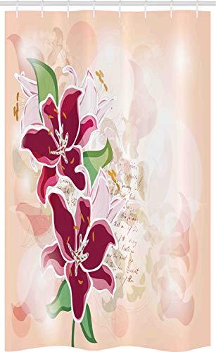 ABAKUHAUS Fuchsie Schmaler Duschvorhang, Pastell Lilien Botanical, Badezimmer Deko Set aus Stoff mit Haken, 120 x 180 cm, Peach Maroon and Green