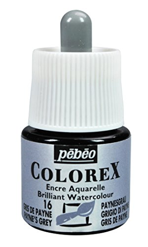 Pebeo Colorex, Watercolor Ink, 45 ml Bottle with Dropper - Payne's Grey