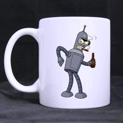 N\A Taza Blanca diseñada para requisitos particulares Futurama de Bender Que Fuma Fresco Taza de café/té de 11 onzas