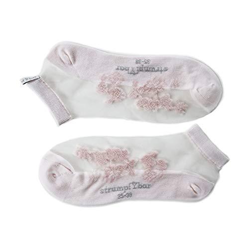 Kousbare transparante fashion sneaker sokken met kant uiterlijk en katoenen zool