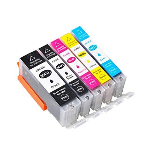 YYCH Tinta de Impresora Cartucho de Tinta Compatible 364XL 364 para HP364 XL Photosmart 5520 5524 6510 6520 7510 B109 B110 B209 B210 C309 C310 C410 Impresora Productos de Oficina