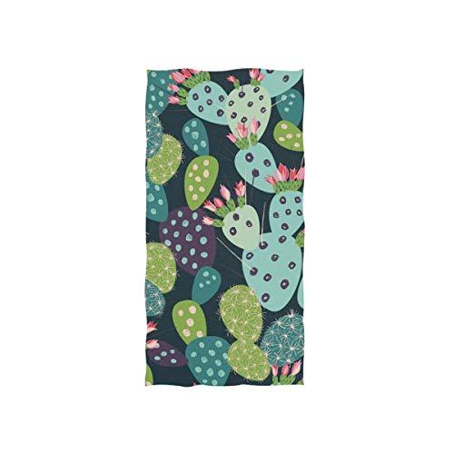 Bert-Collins Towel Toallas de Playa Suaves, patrón de Cactus Toallas de Playa Altamente absorbentes para baño 80x130cm TWL-600