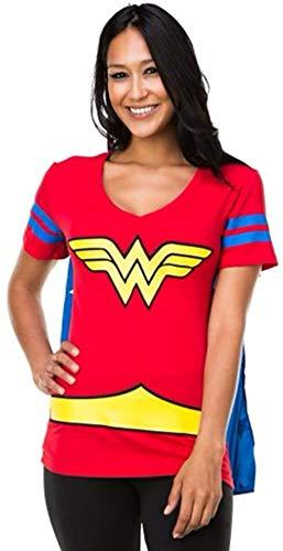 Wonder Woman Blue Stripes Juniors Costume Cosplay Cape T-Shirt Tee Shirt DC Comics