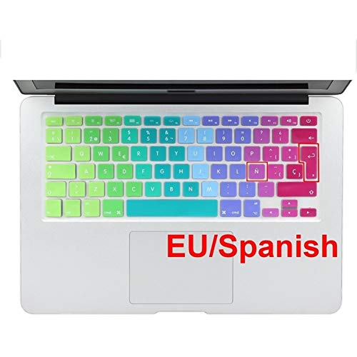 Soft Skin Protector, Euro Spanish English Russia water Dust proof keyboard cover for macbook Old air 13 protector change colors Retina 13 15 CD ROM Waterproof Dust-Proof (Color : EU Spanish Rainbow)