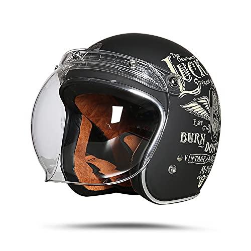 LIONCIANO Casco De Moto Jet Abierto Dot/Ece Homologado, Casco Moto De Scooter, Cabeza Anticolisión De Casco para Mujer Hombre Adultos con Visera(Volante Lucky Negro Mate, XXL60-61cm)