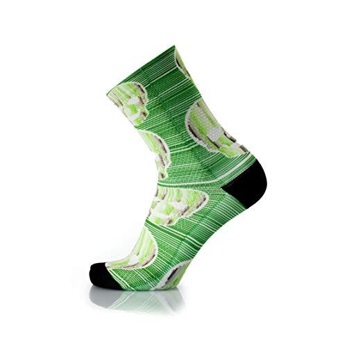MB Wear Chaussettes Fun-Green Skull-L/XL (41-46) Mixte Adulte, Vert/Noir, FR : L (Taille Fabricant