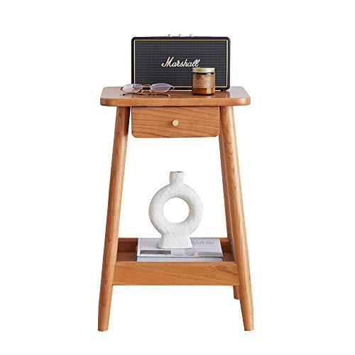 WENCY salontafel van kersenhout met lade en opbergdoos, groot werkblad, woonkamer, slaapkamer