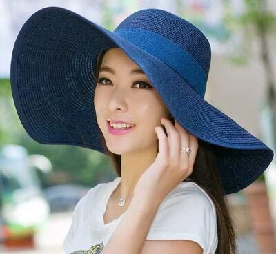 AdronQ Schützen Sie Hut Dame Sommer breit entlang Bogenvisier Sun Beach Strohhut Kappe Süßigkeiten farbige Sonnenhüte für