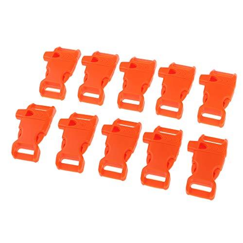 Baoblaze 10x Boucle de Sifflet d'urgence Corde Bracelet de Camping Plein Air Paracord - Orange, 45x27mm