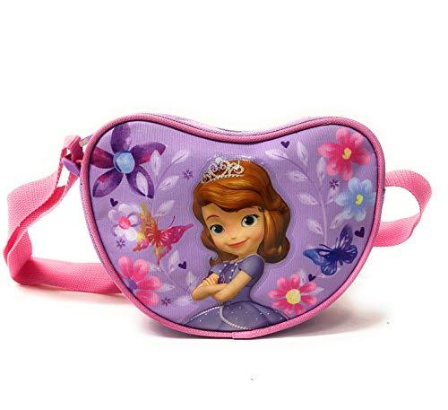 Sofia die Erste Herztasche für Kleine Mädchen - Kinder Handtasche Disney in Form eines Herzens - Lila Umhängetasche - 18x14x6 cm - Perletti