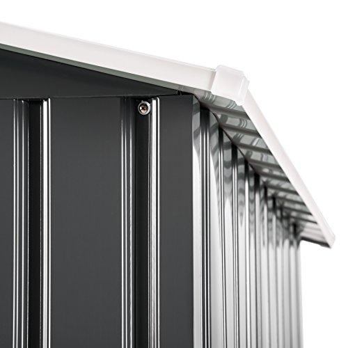 TecTake Metall Gerätehaus Gartenhaus Satteldach | Metall-Fundament | Diverse Farben und Modelle (Typ 3 | Grau | Nr. 402568) - 6
